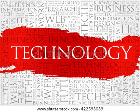Technology word cloud, business concept background - stock photo