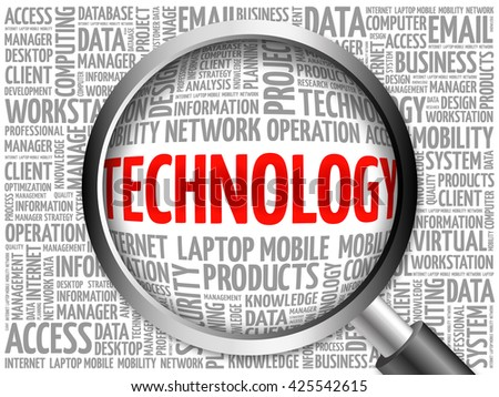 Technology word cloud with magnifying glass, business concept 3D illustration - stock photo