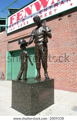Ted Williams statue outside Fenway Park - stock photo