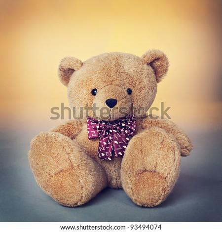 Teddy bear,  a stuffed toy bear - stock photo