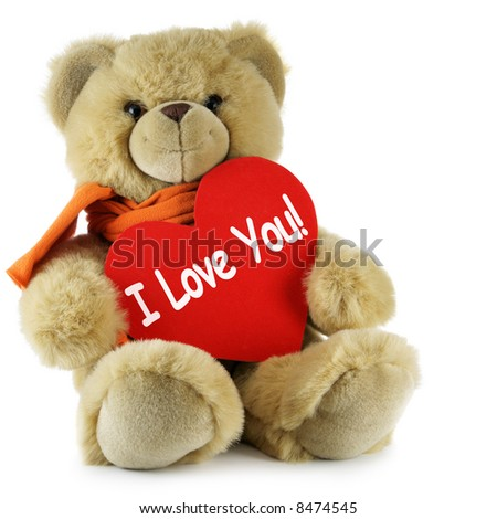 """Teddy bear and big red heart with text """"I Love You"""" - stock photo"""