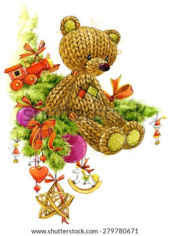 Teddy bear and Christmas tree with New Year decoration for background. watercolor illustration - stock photo