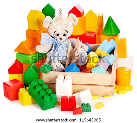 Teddy bear and cubes. Children toys. Isolated. - stock photo