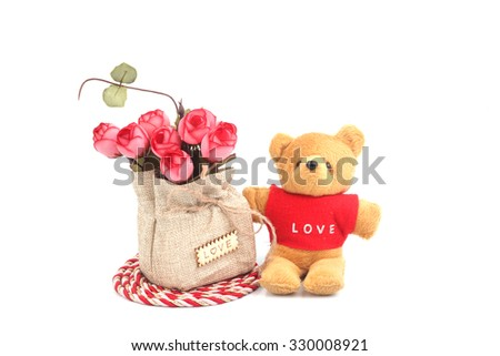 teddy bear and flower on isolated white background