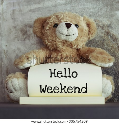 Teddy bear and message Hello weekend on the book