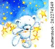 Teddy bear and stars background. watercolor - stock vector