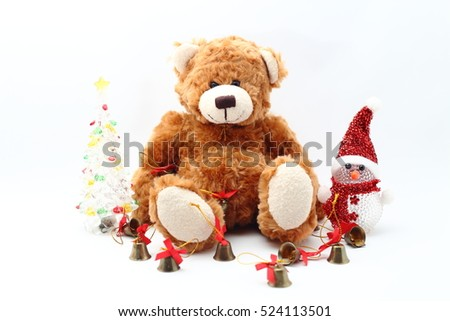 Teddy bear  and the Xmas Ornaments on white background