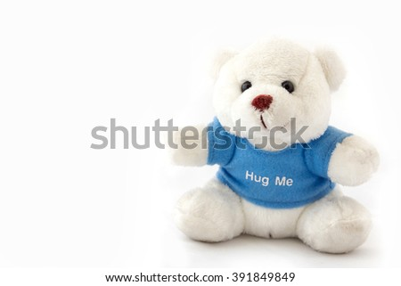 Teddy bear blue t-shirt isolated on white background. - stock photo
