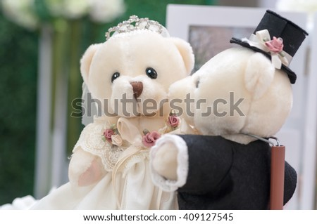 Teddy Bear bride and groom, selective focus, soft focus - stock photo