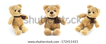 TEDDY BEAR brown color three side on white background - stock photo