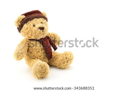 Teddy bear christmas doll toy on white background.