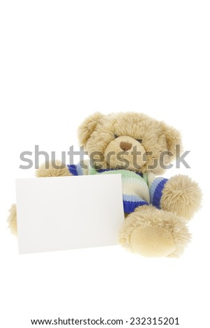 Teddy Bear Gift on pure white background - stock photo