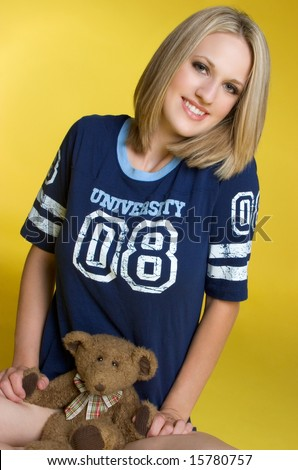 Teddy Bear Girl - stock photo
