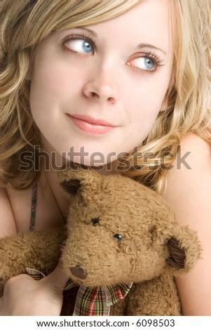 Teddy Bear Girl - stock photo