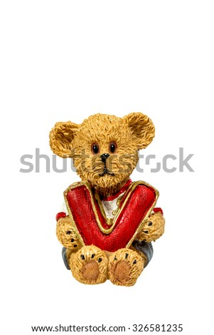 teddy bear hold V on white background