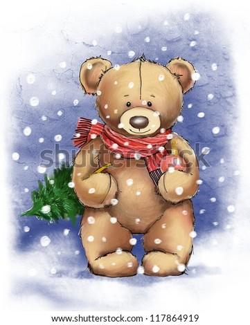 Teddy bear holding christmas tree. - stock photo