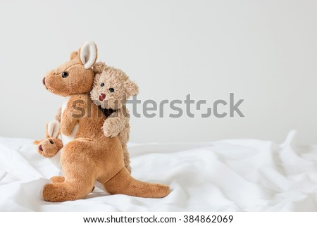 teddy bear hug kangaroo ( good feeling ) - stock photo