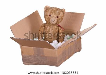 teddy bear in cardboard box - stock photo