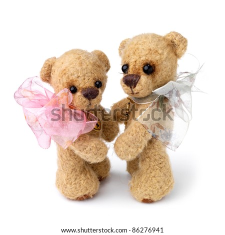 Teddy bear in classic vintage style isolated on white background - stock photo