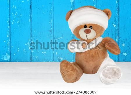 Teddy Bear. Injured Teddy Bear - stock photo