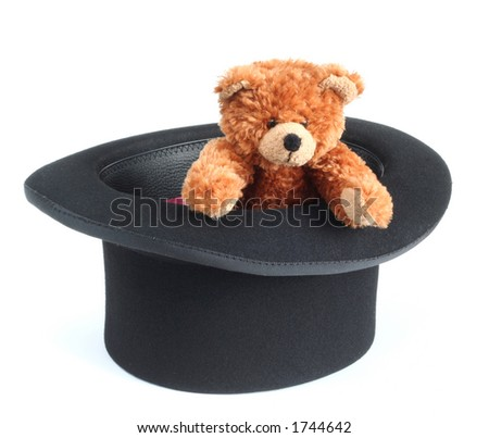 Teddy bear inside a bowler hat
