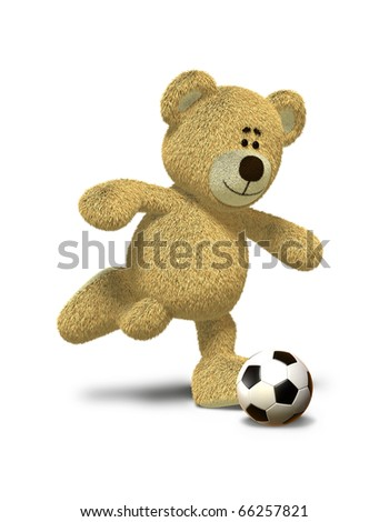 Teddy Bear is about to kick a soccer ball that lies in front of him. This image is isolated on a white background with soft shadow. - stock photo