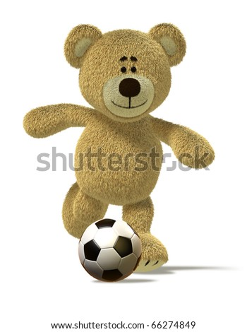 Teddy Bear is running and about to kick off a soccer ball in front of him. This image is isolated on white with soft shadows. - stock photo