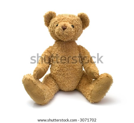 teddy bear isolated on the white - stock photo