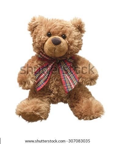 Teddy bear isolated on white background - stock photo