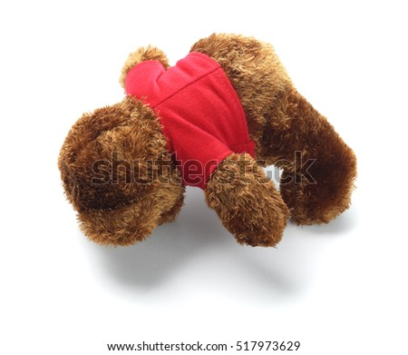 Teddy Bear Lying Face Down on White Background