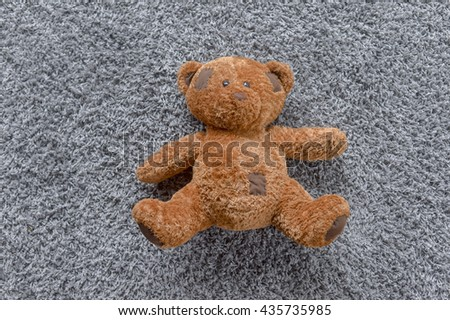 Teddy Bear lying in the bed / Teddy bear - stock photo