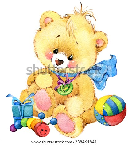 Teddy bear Newborn baby boy and decor for kid holiday greetings. watercolor illustration - stock photo