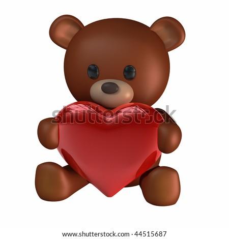Teddy Bear of Love holding a Heart - stock photo