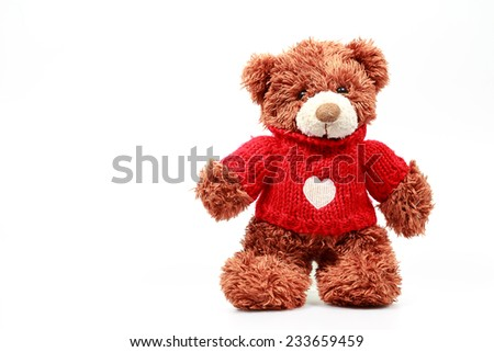 Teddy Bear on Isolate background. bow cute art nice love floor baby play child one joy doll studio toy object animal concept romantic retro worry young give apologize forgiveness plush single babe old - stock photo