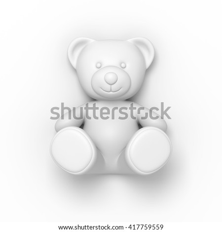 Teddy bear on the light grey background. 3D illustration - stock photo