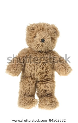 Teddy Bear on White Background - stock photo