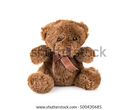 Teddy Bear on white background. bow cute art nice love floor baby play child one joy doll studio toy object animal concept romantic retro worry young give apologize forgiveness plush single babe old