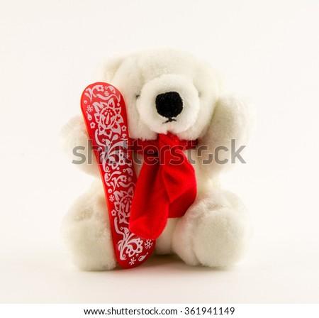 teddy bear on white background / isolated doll polar bear - stock photo
