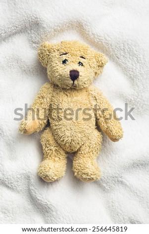 teddy bear on white pillow - stock photo