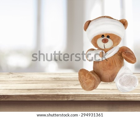 Teddy Bear, Physical Injury, Broken. - stock photo