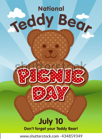 Teddy Bear Picnic Day Poster, national holiday in USA on July 10, kids and their favorite stuffed toys have lunch outdoors, red polka dot text, blue sky background. - stock photo