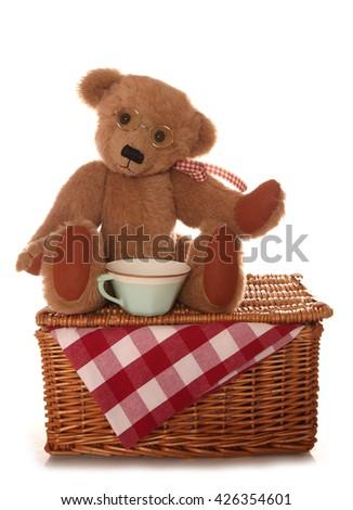 teddy bear picnic tea party cutout - stock photo