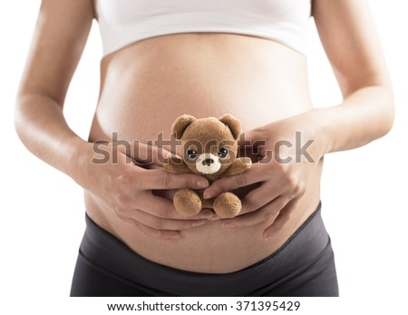 Teddy bear pregnant - stock photo