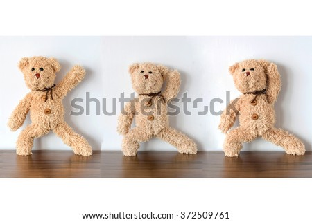 teddy bear set ( teddy bear exercising ) - stock photo