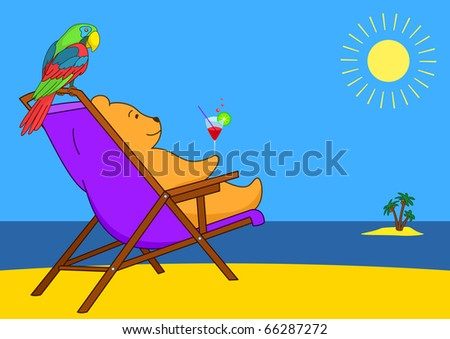 Teddy bear sitting in a chaise lounge on a beach and drinks a cocktail, its friend a parrot there and then sits