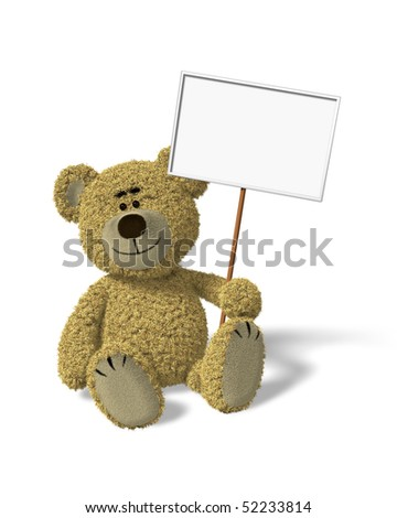 Teddy Bear sitting in front of a white background, holding an empty white sign. You can place your logo or text into that sign. - stock photo