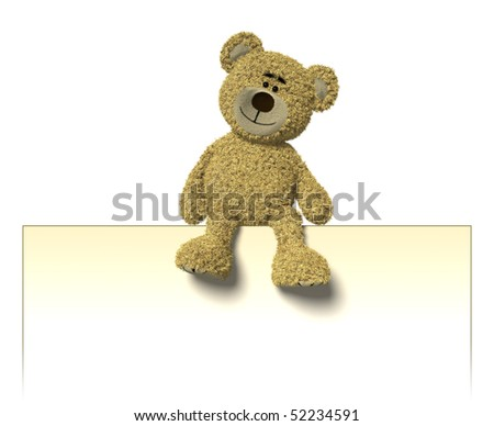 Teddy Bear sitting on top of an empty white sign. You can place your logo or text into this sign. - stock photo