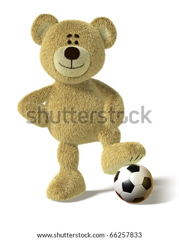 Teddy Bear smiles and stands with one foot on a soccer ball. His right hand on his hips in a cool champions pose. This image is isolated on a white background with soft shadows - stock photo