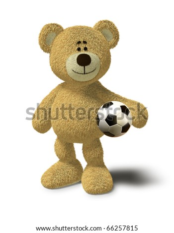 Teddy Bear smiles while he stands in front of a white background and holds a soccer ball in his left arm. This image is isolated on a white background with soft shadow. - stock photo
