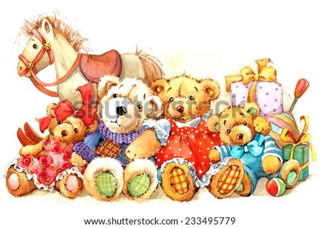 Teddy bear.Toy background for celebration kids Birthday festival. watercolor illustration - stock photo
